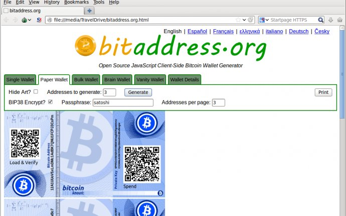 Paper wallets Bitcoin