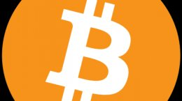 The official logo of Bitcoin, a digital cryptocurrency.